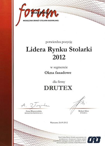 Lider Rynku Stolarki 2012 dla firmy DRUTEX
