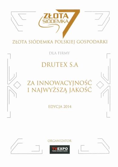 Złota Siódemka Polskiej Gospodarki 2014 dla firmy DRUTEX