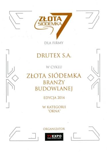 Złota Siódemka Branży Budowlanej 2014 dla firmy DRUTEX