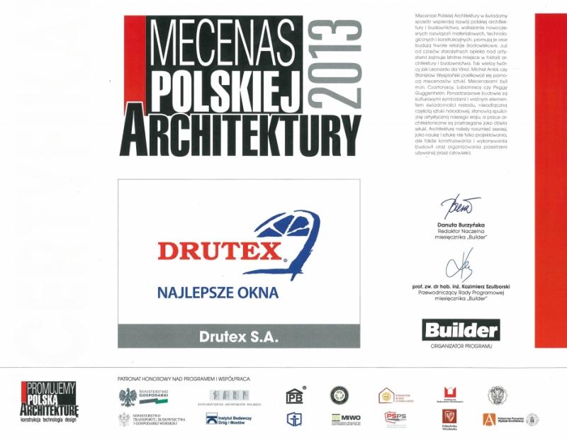 Mecenas Polskiej Architektury 2013 dla firmy DRUTEX