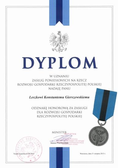 Odznaka honorowa za zasługi dla rozwoju gospodarki dla firmy DRUTEX