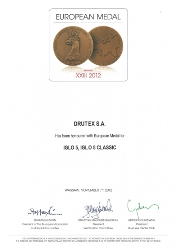 Medal Europejski 2012 (EN) dla firmy DRUTEX