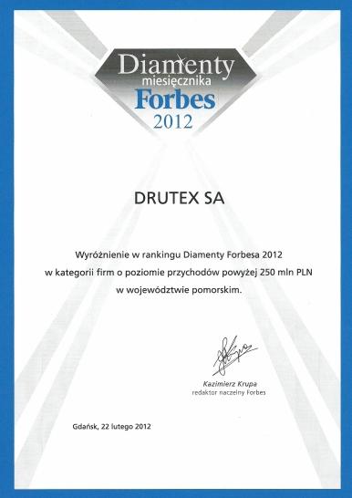 Diamenty Forbes 2012 dla firmy DRUTEX