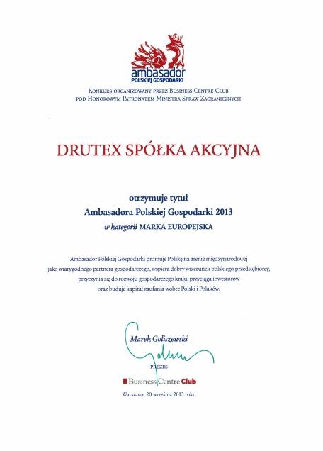 Ambasador Polskiej Gospodarki 2013 dla firmy DRUTEX