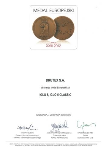 Medal Europejski 2012 dla firmy DRUTEX