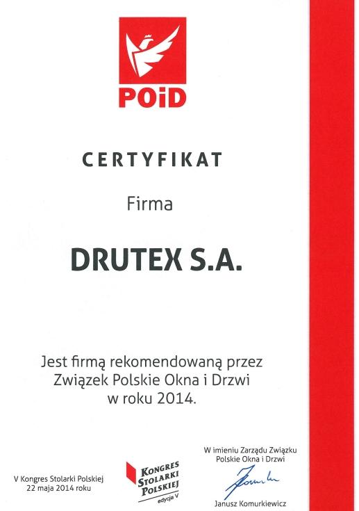 Polskie Okna i Drzwi 2014 dla firmy DRUTEX