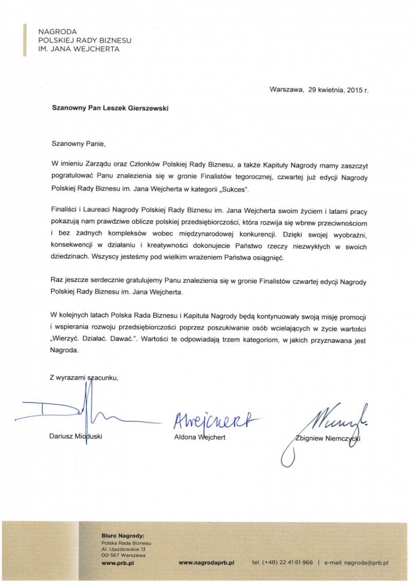 Nominacja do Nagrody Polskiej Rady Biznesu dla firmy DRUTEX