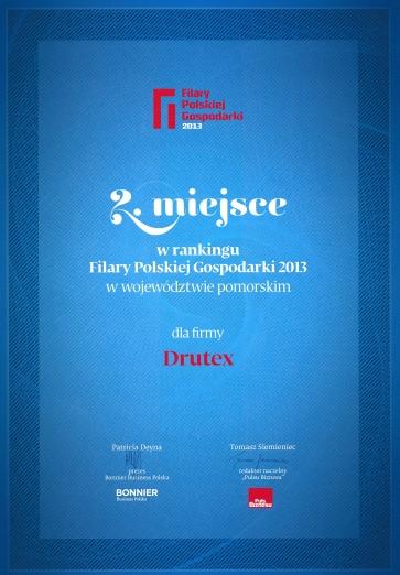 Filary Polskiej Gospodarki 2013 dla firmy DRUTEX