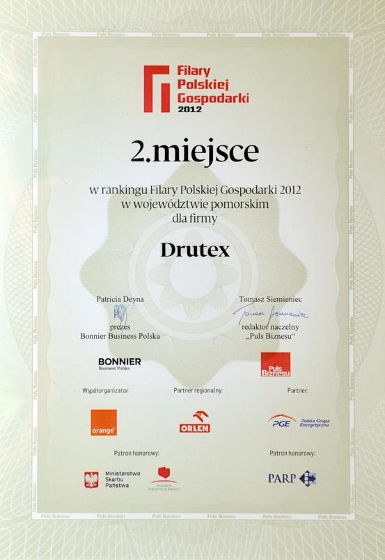 Filary Polskiej Gospodarki 2012 dla firmy DRUTEX