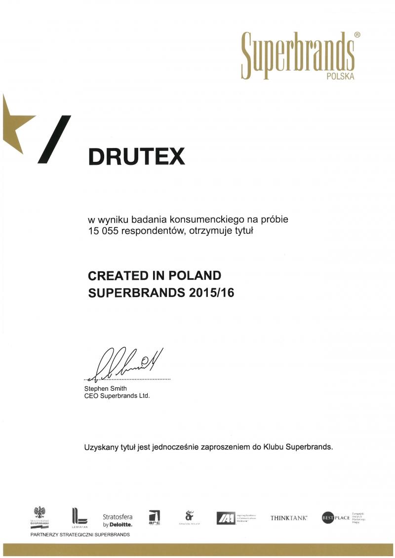 SUPERBRANDS 2015/2016 dla firmy DRUTEX