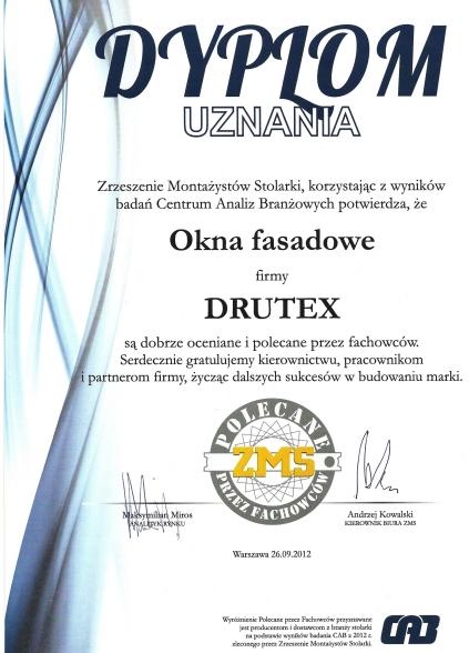 Dyplom uznania dla okna fasadowego firmy DRUTEX