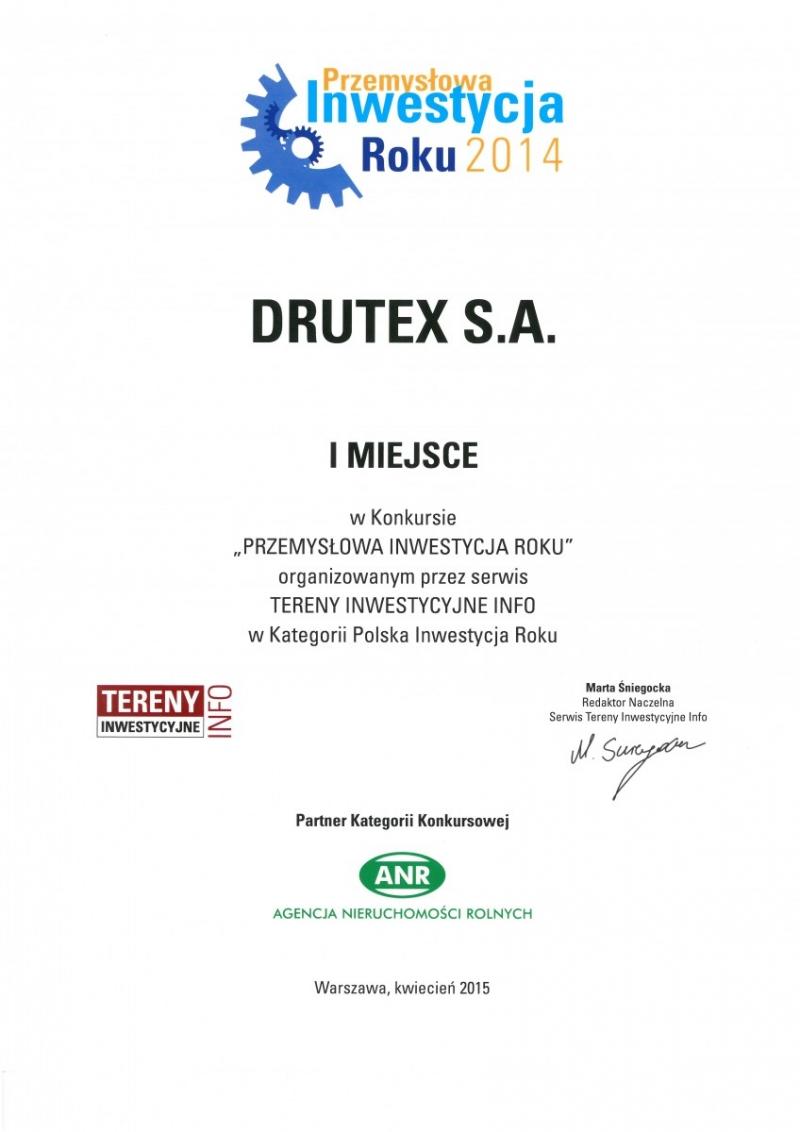 DRUTEX Przemysłową Firmą Roku 2014