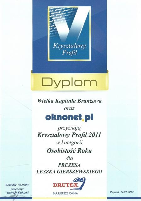 Kryształowy Profil 2011 dla DRUTEX