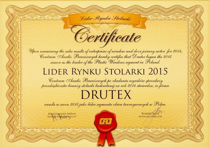 Lider Rynku Stolarki 2015 dla firmy DRUTEX