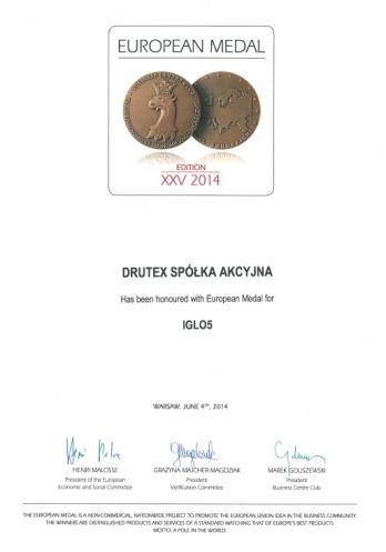 Medal Europejski 2014 (EN) dla DRUTEX