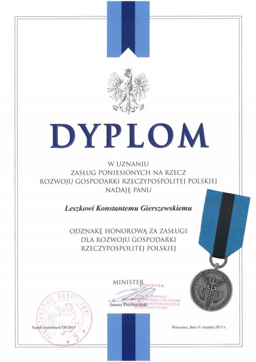 Dyplom za zasługi dla rozwoju gospodarki RP 2015