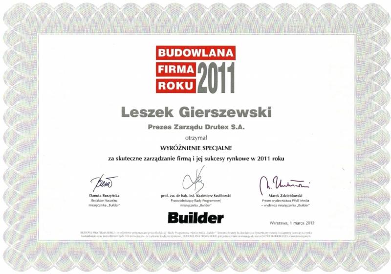 Builder - wyróżnienie specjalne dla firmy DRUTEX