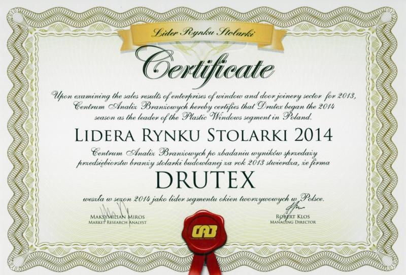 Lider Rynku Stolarki 2014 dla DRUTEX