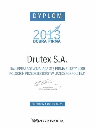 Dobra Firma 2013 dla firmy DRUTEX