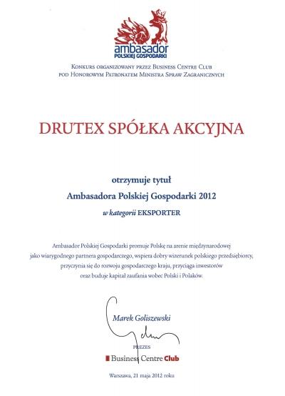 Ambasador Polskiej Gospodarki 2012 dla firmy DRUTEX