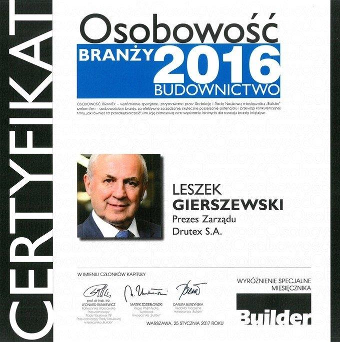 Leszek Gierszewski - Prezes DRUTEX S.A. - Osobowość Branży 2016 - Budownictwo