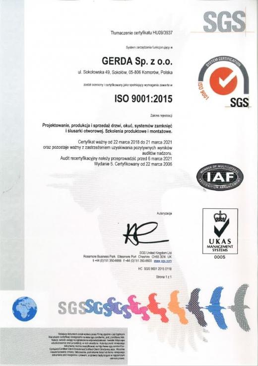 Certyfikat ISO 9001 2015 dla Gerda