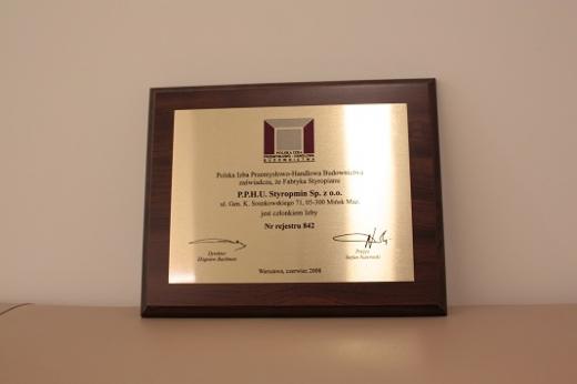 Dyplom i tytuł członka Polskiej Izby Przemysłowo-Handlowej Budownictwa 2008 dla STYROPMIN