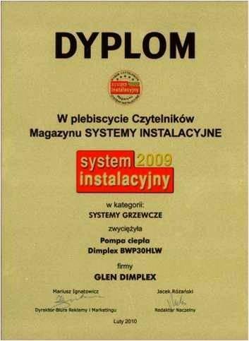 Nagroda w konkursie System Instalacyjny 2009 dla pompy ciepła do c.w.u. BWP30HLW Glen Dimplex