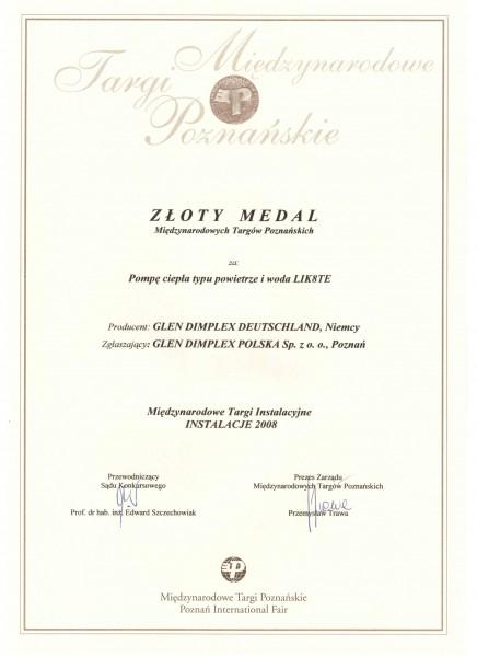 Złoty medal MTP Instalacje 2008 za pompę ciepła Dimplex LIK8TE Glen Dimplex