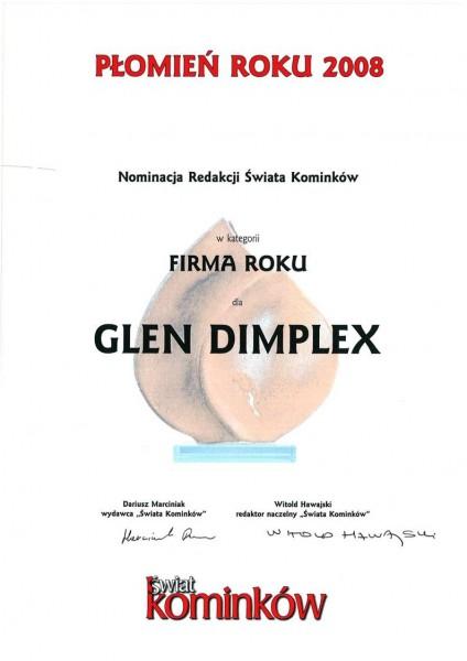 Nominacja w konkursie Płomień Roku 2008 w kategorii firma roku dla Glen Dimplex Polska Glen Dimplex