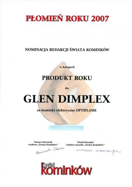 Nominacja w konkursie Płomień Roku 2007 w kategorii produkt roku dla kominków elektrycznych Optiflame Glen Dimplex