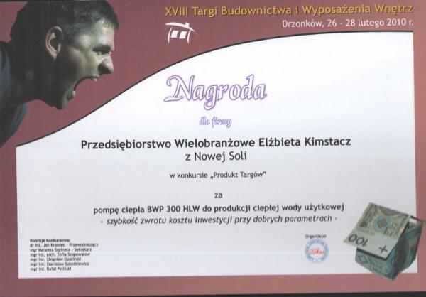 Nagroda dla pompy do c.w.u. BWP30HLW Targi Budownictwa i Wyposażenia Wnętrz Drzonków 2010 Glen Dimplex