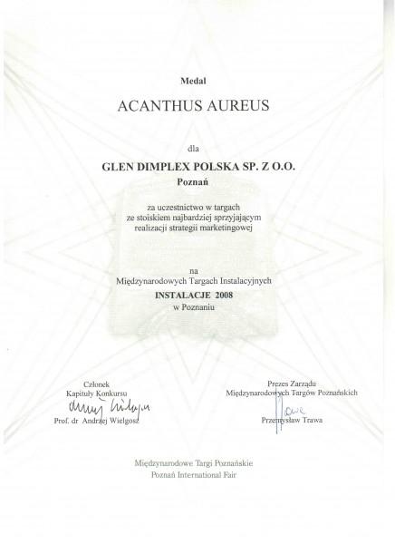 Nagroda w konkursie Acanthus Aureus za stoisko Dimplex na targach Instalacje 2008 Glen Dimplex