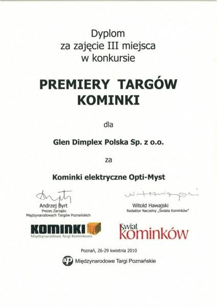 III miejsce dla kominków elektrycznych Opti-Myst w konkursie na premierę targów Kominki 2010 Glen Dimplex