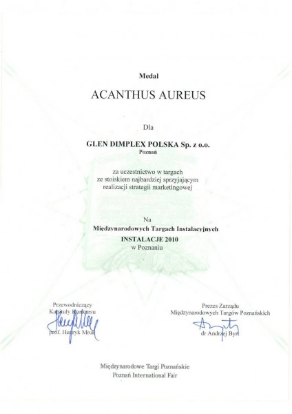 Nagroda w konkursie Acanthus Aureus za stoisko Dimplex na targach Instalacje 2010 Glen Dimplex