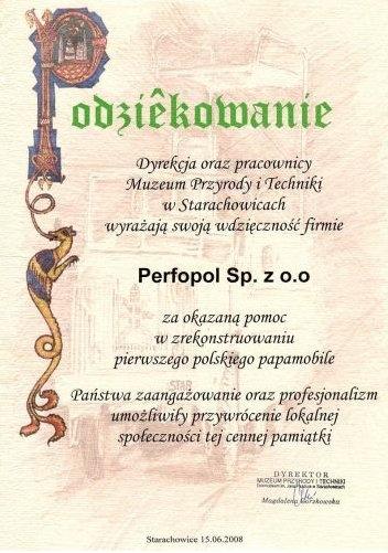 Podziękowanie - Muzeum Przyrody i Techniki w Starachowicach