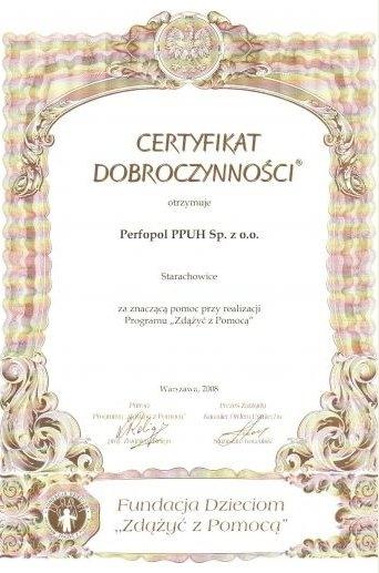 Certyfikat Dobroczynności 2008
