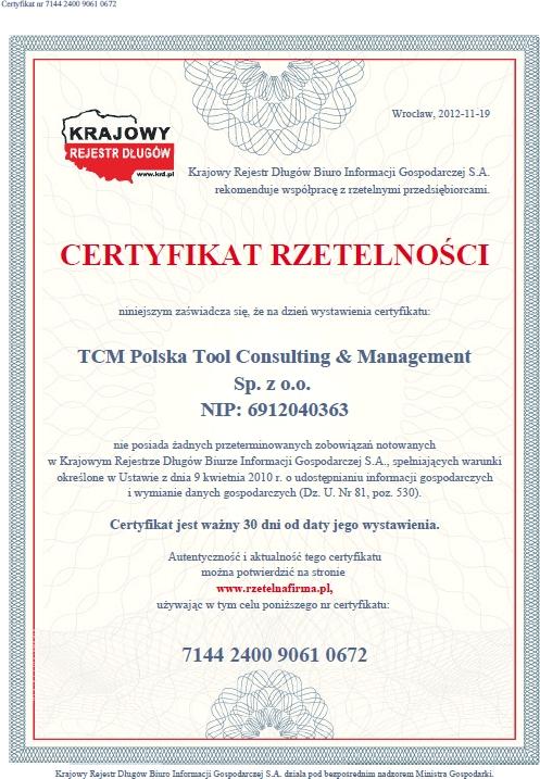 Certyfikat Rzetelności, TCM, Rzetelna Firma