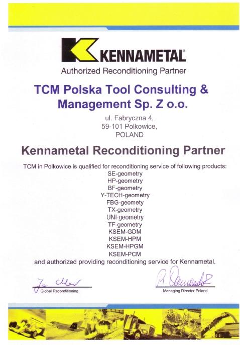 Autoryzowany Partner KENNAMETAL, TCM