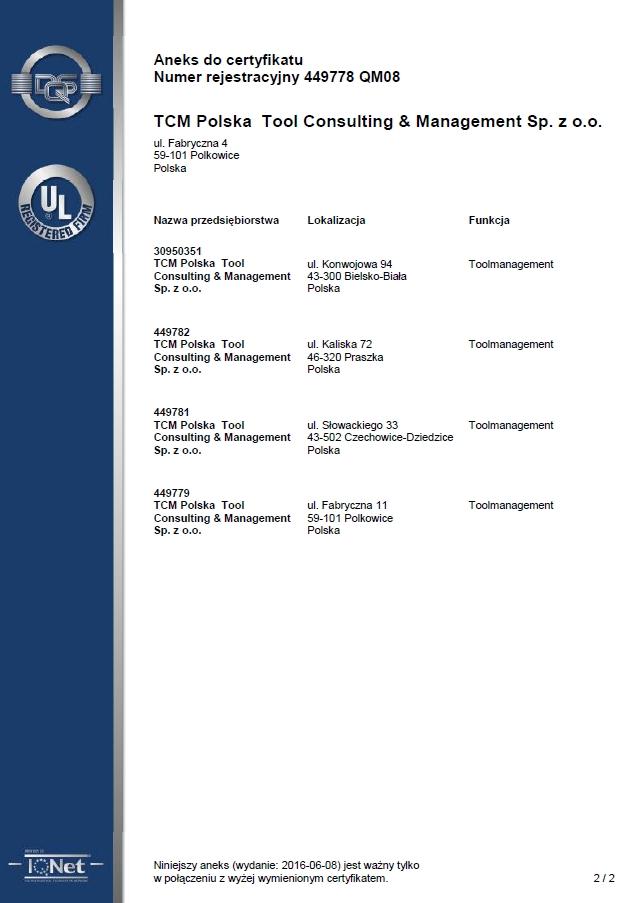 TCM, Certyfikat ISO 9001:2008