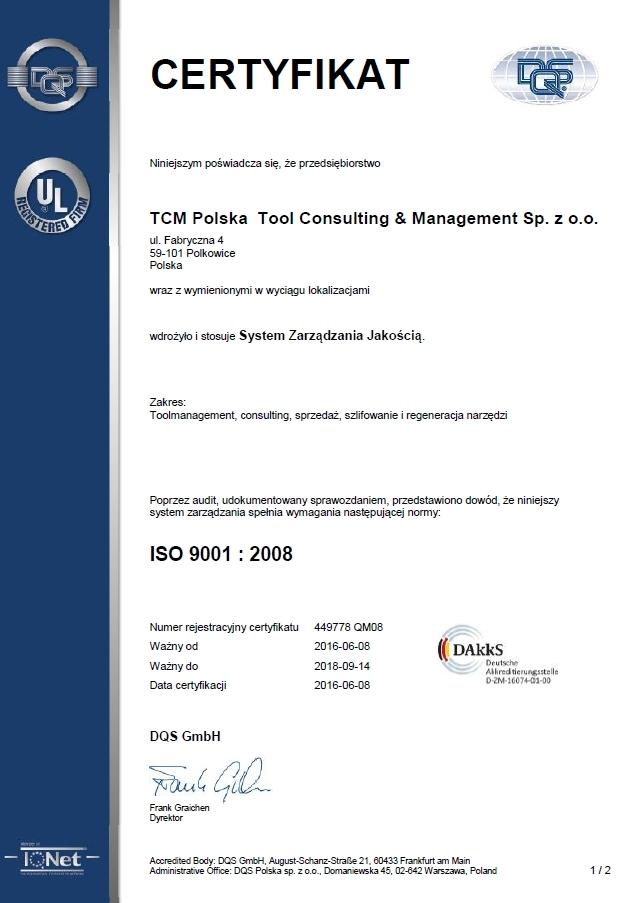 Certyfikat ISO 9001:2008, TCM,