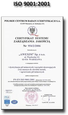 Certyfikat ISO 9001:2001