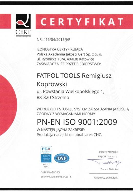 Certyfikat jakości ISO 9001:2001 FATPOL TOOLS