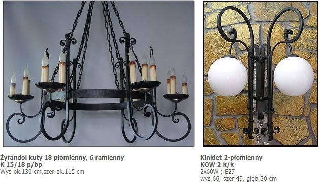 Żyrandol kuty 18 płomienny, 6 ramienny, Doniec, Lampy wiszące oraz kinkiety RĘCZNIE KUTE