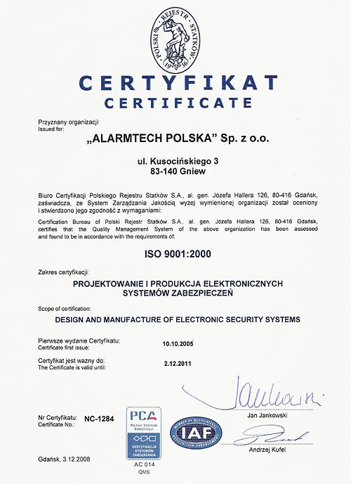 Certyfikat ISO 9001:2000, Alarmtech