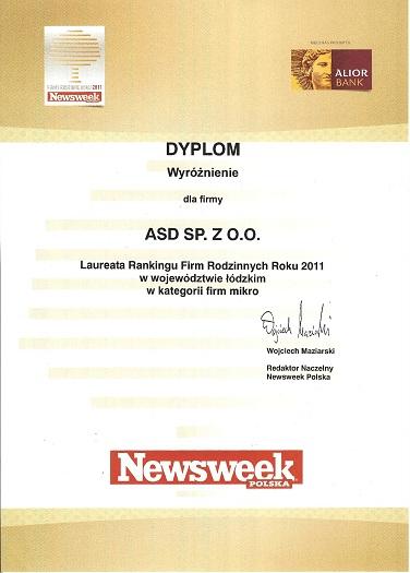 Wyróżnienie Firma Rodzinna Roku 2011 dla firmy ASD
