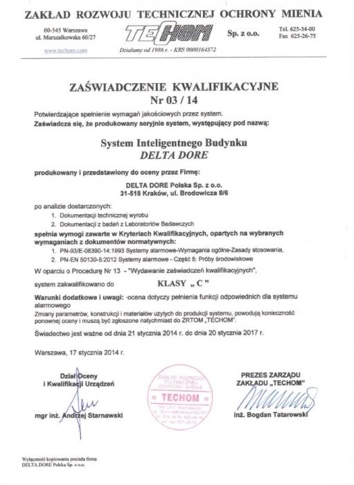 Certyfikat TECHOM dla Delta Dore