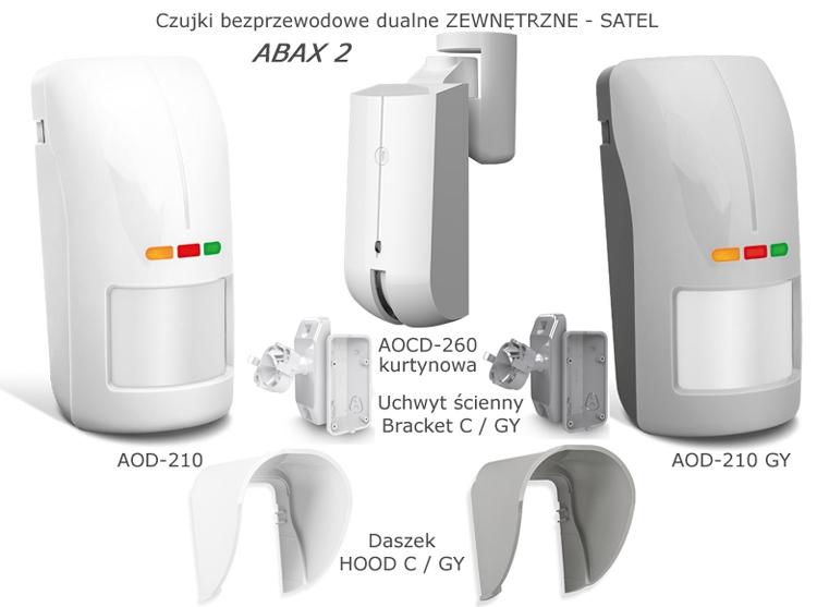 AOD-200 GY AOCD-260 Czujka dualna bezprzewodowa zewnętrzna SATEL. Alertus RABAT 15-35%