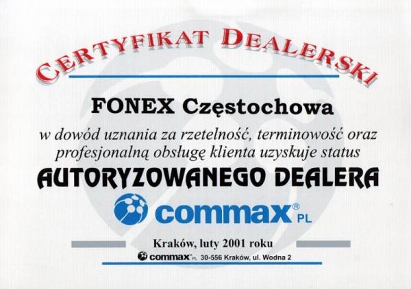 Certyfikat autoryzowanego dealera COMMAX FONEX