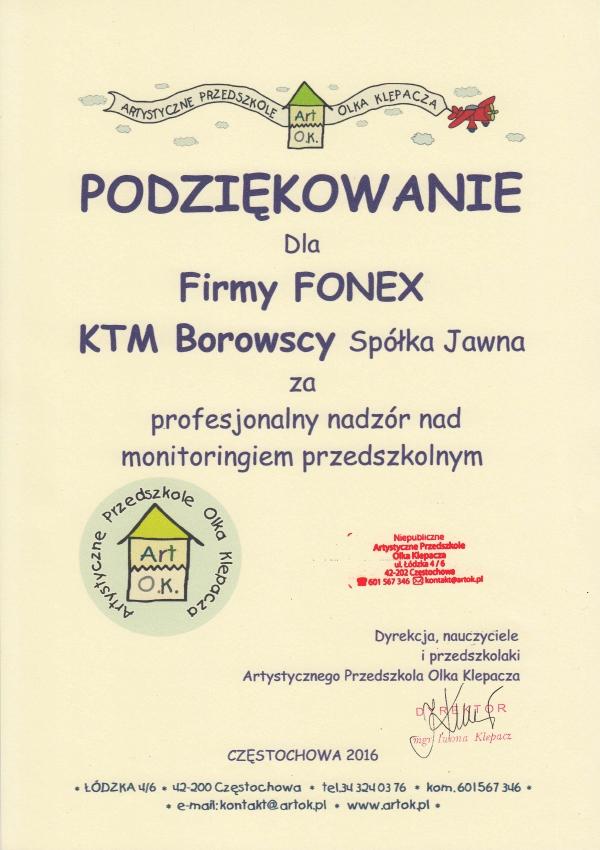 Podziękowanie - Artystyczne Przedszkole Olka Klepacza FONEX